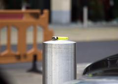 Lighter (Chris Glover - Computer Problems (Nearly fixed)) Tags: lighter bollard light yellow pole cigarette