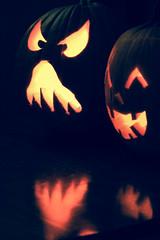 Tragedy / Comedy (curious_spider) Tags: pumpkins jackolanterns halloween carved tragedy comedy