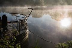 Bourne End-1007460 (jeromestarkey) Tags: autumn barge boat bourneend buckinghamshire bucks cobweb dawn england fog frost mist mooring morning river riverbank riverboat rope spider thames water