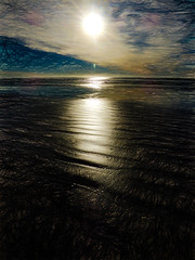 Sun-A-Rise (Steve Taylor (Photography)) Tags: sunrise northnewbrighton christchurch newzealand digitalart brown blue sand nz canterbury southisland beach ocean pacific sea waves texture cloud sky sun sunny sunshine waterscape lowtide dawn autumn