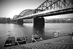 Vltava - river (DJ_Black_Tea) Tags: bridge river vltava railroad water bw