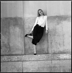 Alyona (Davide Rizzo) Tags: alyona russian hasselblad outdoor model xtol delta film contrast blonde white shirt heels elegant