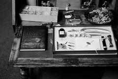 witch's desk (Mallybee) Tags: fuji fujifilm xa1 35mm f14 fujinon bw blackwhite mallybee spell book desk witch sooc apsc bayer