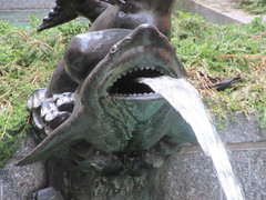 Shark Fountain - 30 Rockefeller Plaza NYC 9540 (Brechtbug) Tags: 30 rock rockefeller plaza center fountain with fish riders sculptures off 5th ave near 49th 50th streets entrance sea creature tentacles nyc 011019 new york city octopus arms wrapping around statue sculpture january 2019