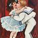 Mistletoe kiss on a Christmas card