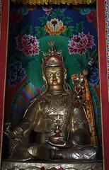 141. Interior, Padmasambhava (Guru Rinpoche), Lho Ribang Monastery, Lho, Gorkha District, Manaslu Trek, Nepal (Jay Ramji's Travels) Tags: nepal lho gorkhadistrict manaslutrek himalayas lhoribangmonastery monastery buddhism placeofworship interior religious statue padmasambhava gururinpoche