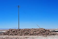 Utility Pole with Lateral Cable Bracing (Chris Hunkeler) Tags: chile atacama desert salt mud utility pile mound lateralbrace cablebrace pole