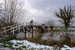 Date on the bridge over Gein (Julysha) Tags: d700 nikkor247028 uniwb cc30m dxo 2009 winter december christmas snow gein river bridge people couple thenetherlands holland