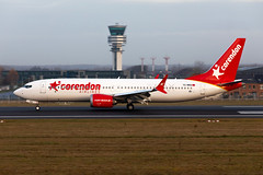 TC-MKS, Boeing 737-8 MAX of Corenden Airlines. (David James Clelford Photography) Tags: tcmks boeing7378max corendenairlines 25l brusselsnationalairport aircraft airplane airliner airport aeroplane jet jetliner controltower boeing 737 7378max ebbr bru