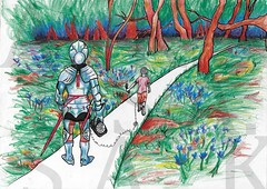 Fatherhood (Moiret) Tags: fatherhood drawing displeased forest woods summer spring calm warm weather green 2d handdrawn flat freehand pen paper illustration coloured trees armour medieval phone analogue joy happiness freedom dissatisfied ¨