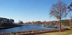 Winter View of Lake Norman in NC. (snow41) Tags: lakenorman nc condos marina water boats landscape fence hedge