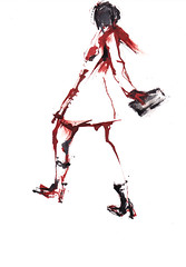 Femme en marche [20190104] (rodneyvdb) Tags: abstracted art boots catwalk contemporary drawing expression expressionism fashion femme figurative illustration ink model muse pose purse red rouge shoes sketch trenchcoat vogue woman