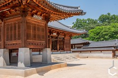 _IMG3071-123 (JChilleo) Tags: geyongbokgung palace korea korean asia asian sky blue clouds green tree trees foliage plants bush bushes shrubbery shrubberies handcrafted old artistry artwork art colors pagoda shrines shrine seoul