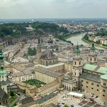 View over Salzburg and the river Salzach from Hohensalzburg Fortress in Austria thumbnail
