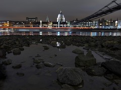 Under Millennium (Douguerreotype) Tags: england london bridge dark uk urban river water british buildings lights architecture reflection thames cathedral night britain city gb church