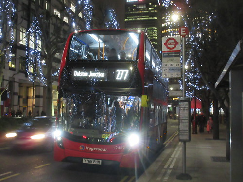 Stagecoach 12407 YY66PHN On Route 277 in Docklands Canary Wharf