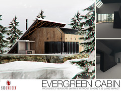 NEW! Evergreen Cabin @ FaMESHed (Bhad Craven 'Bad Unicorn') Tags: ever green cabins modern snow trees tree 3d art artist gfx graphic design bhadcraven badunicorn unicorns unicorn bad bhad craven secondlife second life sl mesh meshed decor decorative decors home garden gardens homes houses builds buildings cool dope