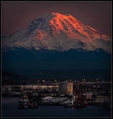 Winter Dusk (Ernie Misner) Tags: f8andbringhandwarmers portoftacoma tacoma washington mountrainier rainier mountain erniemisner 70200efl 70200 nikond810 nikon lightroom nik topazstudio updatepsccandlooseyourwatermarkbrush