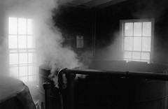 In the Bourbon Distillery.  Fermentation Vats. (bclook) Tags: bourbon bwfp olympusom2n zuiko 5014 agfaapx400 kentucky monochrome istillshootfilm