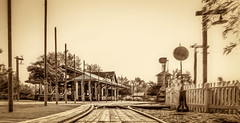 Old Poway Train Depot (FotoGrazio) Tags: oldtownpoway usa travel photomanipulation waynesgrazio travelphotography trainstation retro fotograzio theoldwest vintage railroadtracks waynegrazio poway sandiego olddays california phototoart vintagephotography waynestevengrazio beautiful scenefromthepast photoeffect scenic lovely outdoors vintageeffect antique tourism traindepot oldtown
