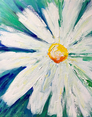 The White Daisy (BKHagar *Kim*) Tags: bkhagar art artday painting paint acrylic impressionist daisy white flower floral artwork