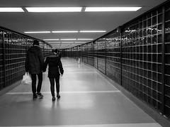 Light Before the End of the Tunnel (iMatthew) Tags: boston ma tunnel backbay backbaystation orangeline subwaystation subway lightning reflection bw blackandwhite monochrome handheld olympuspenf corridor subwaycorridor