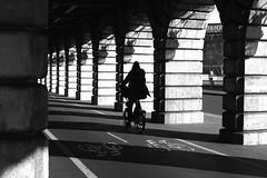 Riding on the small bike (pascalcolin1) Tags: paris13 femme woman pont bridge vélo bike lumière light ombres shadows pistecyclable bicycle soleil sun photoderue streetview urbanarte noiretblanc blackandwhite photopascalcolin 50mm canon50mm canon