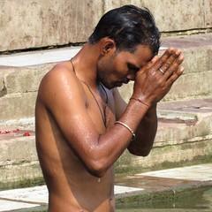 varanasi 2017 (gerben more) Tags: varanasi benares prayer man youngman shirtless ganges ganga india
