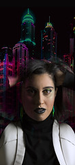Lost her to the city demons (Marta M Mata) Tags: buildings skyline edition myedit portrait futuristic city fear miedo neones retrato female makeup makeupartist mujer woman colours colourful collage
