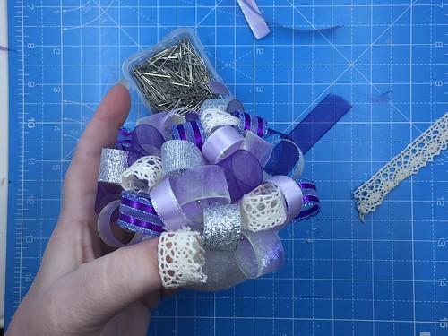 ornament in process for ribbon ornament