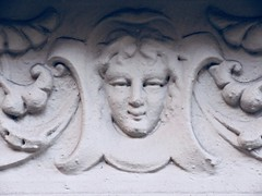 Girls Face Gargoyle on Building Facade 4783 (Brechtbug) Tags: girls face gargoyle building facade 25th street between 7th 8th avenues nyc 07282014 new york city midtown manhattan 2014 gargoyles portraits monster portrait monsters creature faces spooky art architecture sculpture keystone mask brownstone brown stone girl female