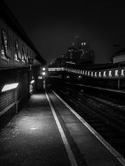 Random B/W - Waterloo East Station (LeRouxster) Tags: autumn night shadows lights travelphotography travel streetphotography street blackandwhite bnw railway train station waterlooeast waterloo mobilephotography iphoneography shotoniphone england london