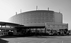 Glass (Valantis Antoniades) Tags: glass sofia bulgaria modern black white bus station