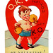 Vintage Child's Valentine Card - O.K. That's You And A K.O. Too! Made In USA, Circa 1940s