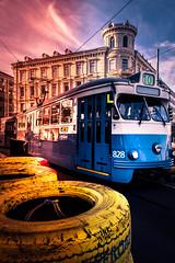 Tram in sunrise (Maria Eklind) Tags: tram autumn sunrise morning gothenburg göteborg spårvagn suunrise sweden soluppgång centralstation höst city light västragötalandslän sverige se