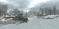 Another dreamy day on Neva River (stormyseas11) Tags: nevariver secondlife sl virtual landscape boat pier winter snow