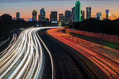 The Drive to Downtown Dallas (tquist24) Tags: dallas interstate30 nikon nikond5300 texas tomlandryfreeway city cityscape downtown freeway geotagged light lightstream lighttrails lights longexposure morning sky skyline skyscraper skyscrapers sunrise traffic urban northedgefieldavenue