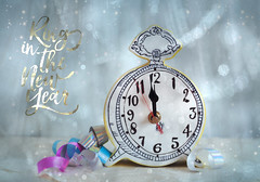 Almost Midnight (JMS2) Tags: newyear celebration 2019 clock midnight stilllife ribbons fun party