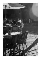 Morning cigarette (madras91) Tags: nb blackandwhite noiretblanc bw mono monochrome iiif leicaiiif leica leicascrewmount summitar5cmf2 summitar 50mm backlighting smoke street streetphotography paris montmartre argentique