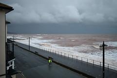 The Lone Cyclist (davidvines1) Tags: sky cloud storm sea wave sidmouth devon seafront jurassiccoast