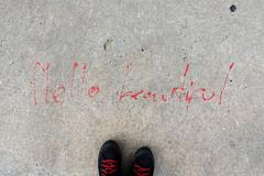 hello beautiful (Luna Park) Tags: melbourne vic australia streetart lunapark hello beautiful feet shoes converse scribble sidewalk doodle