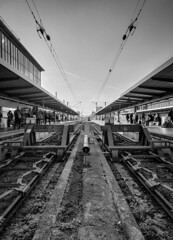 Munich Central Station (MAKER Photography) Tags: munich germany central train station bw black white monochrome single color colour greyscale people concrete sky cables cable building powerline