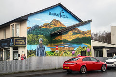 Bombay Jock's Tandoori Restaurant, Balloch (Joe Son of the Rock) Tags: restaurant indianrestaurant curryhouse asianrestaurant ballochroad pierroad balloch bombayjocks tandoorirestaurant mural fence car painting artwork