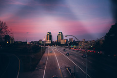 Sunset Over the King + Queen (Christine Quarte) Tags: sunset pink purple sky dramatic skyline city highway interstate twilight atlanta towers cars night evening lights