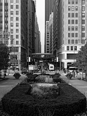 Between Goliaths (coltonmundt@sbcglobal.net) Tags: chicago windycity chitown chi blackandwhite bw photography architecture buildings skyscrapers skyscraper busy millenium park milleniumpark streetphotography street