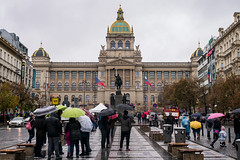 Wenceslas Square, Prague (romanboed) Tags: leica m 240 summilux 50 czech europe cesko czechia prague praha prag praag praga city fall autumn travel tourism 布拉格 прага プラハ براغ 프라하 street umbrellas rain wenceslas square vaclavske namesti narodni muzeum national museum