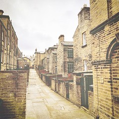 Albert Terrace, Saltaire (vesna1962) Tags: street village houses stone architecture victorian buildings row square highkey vintage retro saltaire westyorkshire england iphone