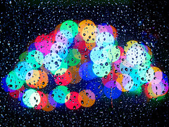 Xmas lights through the rain drops. (S.K.1963) Tags: rain drops bokeh lights coloured window olympus old em1 mk ii 40150mm 28 pro