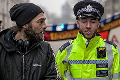 Taunting the officer (Mick Steff) Tags: taunt shout call names police student activist no more deaths nomoredeathsonourstreets london protest male duo street urban metropolitan