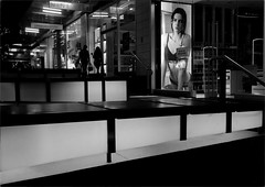 Have You Been Served (Peter Polder) Tags: australia alley bw building buildings city evening people girl highiso lane monochrome mono restaurant sydney street town urban woman
